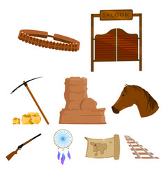Wild west set icons in cartoon style big vector