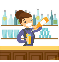 Young caucasian white bartender making a cocktail vector