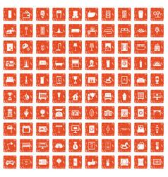 100 interior icons set grunge orange vector image vector image