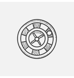 Roulette wheel sketch icon vector