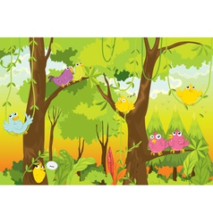 birds in forest vector image