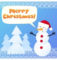 Paper snowman with sign merry christmas vector