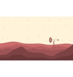 Silhouette of desert and windmill landscape vector