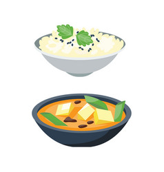 porridge plate in bowl isolated on white vector image