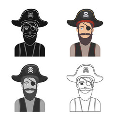 Pirate with eye patch icon in cartoon style vector