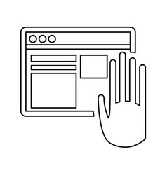 Hand touch vr screen digital vector