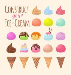 Cartoon ice cream and waffle cone cartoon creation vector