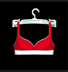 Scarlet bra on a hanger icon female sexy vector
