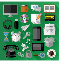 Flat icons bundle vector image