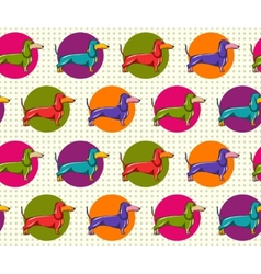 Seamless pattern with dachshund vector