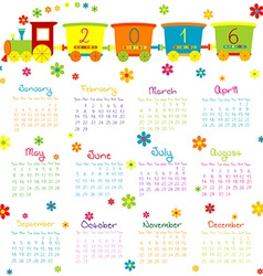 2016 calendar with toy train and flowers vector