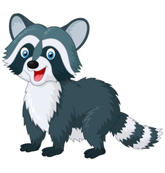 Cartoon cute raccoon on white background vector