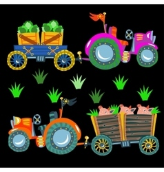Doodle agricultural tractors on a black vector