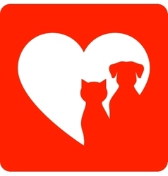 Red sign with pet and heart vector