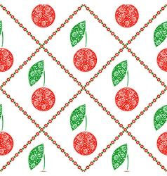Pattern symmetrical fruits cherry vector