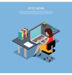 Isometric woman office work interior design vector
