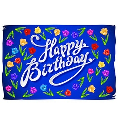 Happy birthday greeting card with flowers birds vector
