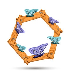 Wooden frame with different butterflies vector