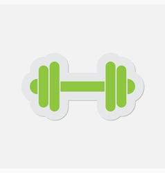 Simple green icon - dumbbell vector
