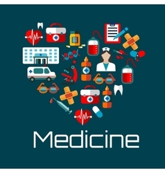 Healthy heart symbol with medical services icons vector