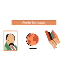 Assembly flat icons ukrainian literature lesson vector
