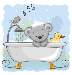bear in the bathroom vector image