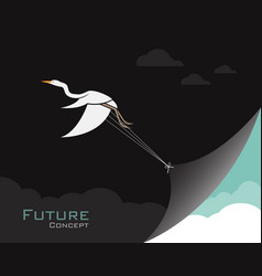 Birdsegret or heron changing reality future vector