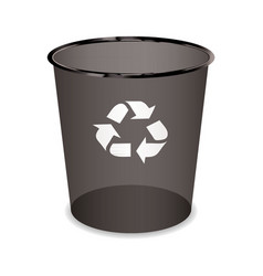 black transparent trash or waste recycle bin vector image