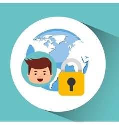 Business man secure money globe vector