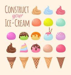 Cartoon ice cream and waffle cone cartoon creation vector