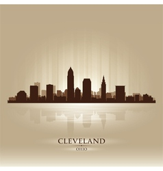 Cleveland Ohio skyline city silhouette vector image