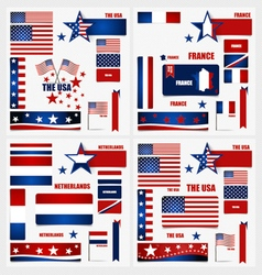 Collection of American Flags France Flags vector image vector image