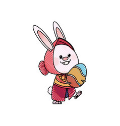 drawing easter girl rabbit holding egg celebration vector image
