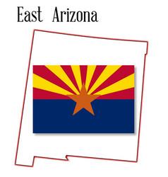 east arizona map and flag vector image vector image
