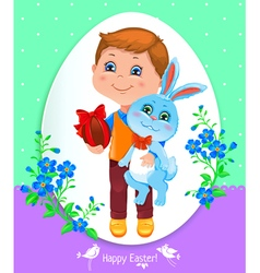 Easter card with boy vector image vector image
