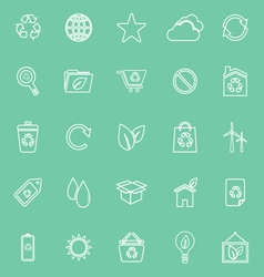 Ecology line icons on green background vector image vector image
