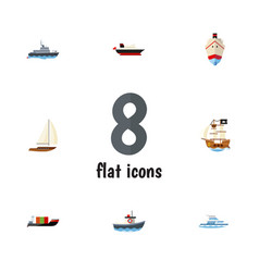 Flat icon boat set of tanker yacht vessel and vector