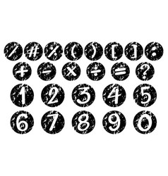 Font design for numbers and signs on black badges vector