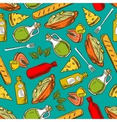 Food seamless pattern background meal and spices vector