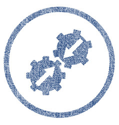 gear integration fabric textured icon vector image vector image