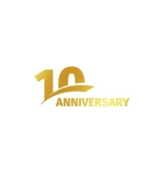 Isolated abstract golden 10th anniversary logo on vector image vector image