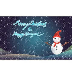 Merry christmas and happy newyear with snowman vector
