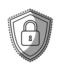 monochrome contour sticker of shield with padlock vector image vector image