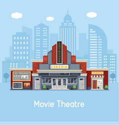 Movie theater building vector