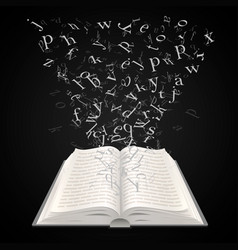 open book with flying letters on a black vector image