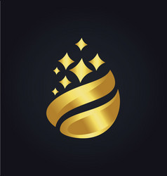 organic droplet gold logo vector image vector image