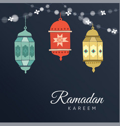 Ramadan hand drawn arabic lanterns with a string vector