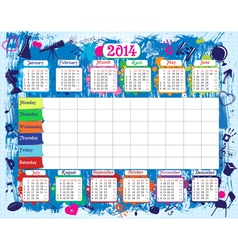 Timetable and calendar vector image vector image