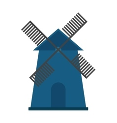 Traditional old windmill building color painted vector