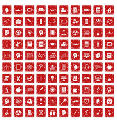 100 education icons set grunge red vector